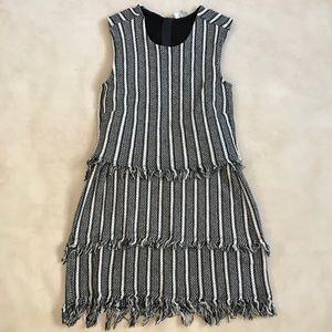 Black grey and white layered dress